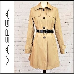 VIA SPIGA Fitted Trench Coat with Buckle Belt M